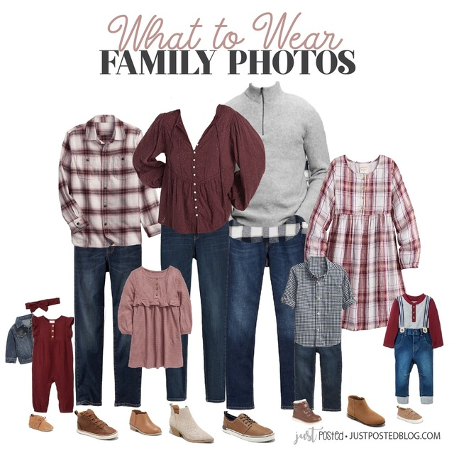 for Family Pictures! This look features a great combo burgundy and gray that is perfect for Fall and Christmas family photos!