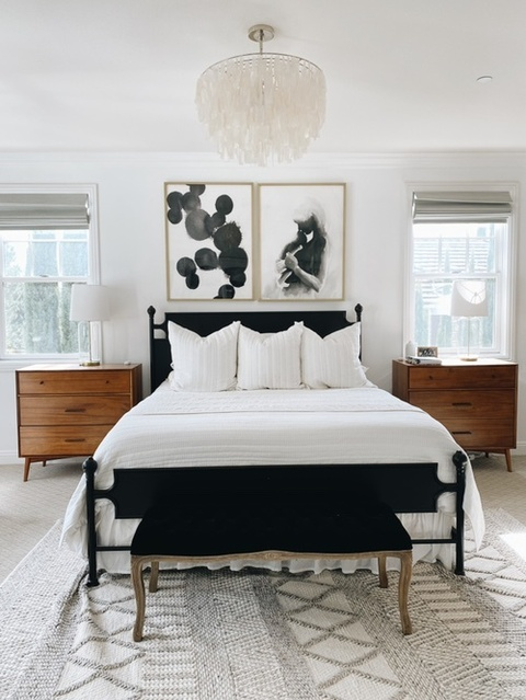 Master bedroom refresh including new artwork! #masterbedroom #californiaking #modernhome #moderndecor