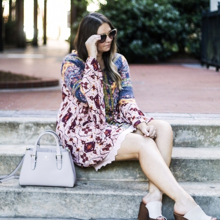 You know those days where you're just not feeling yourself? Where nothing really goes wrong (except my epic dinner fail 🤦🏻♀️) but you just are.... blah. Yeah, today was one of those days. BUT some of my absolute favorite looks came to the blog this week - like this pretty @marisajills dress! I linked some other pretty ones for fall on the Shop My Instagram page 📷: @_ajmmedia #bellsleeves #printeddress #fallstyle #sscollective #shopstylecollective