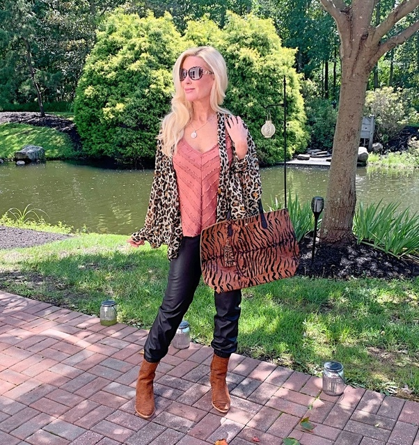 from last year. And I'm in a small in the joggers. #ShopStyle #MyShopStyle #animalprints #fauxleatherjoggers #everydayover50
