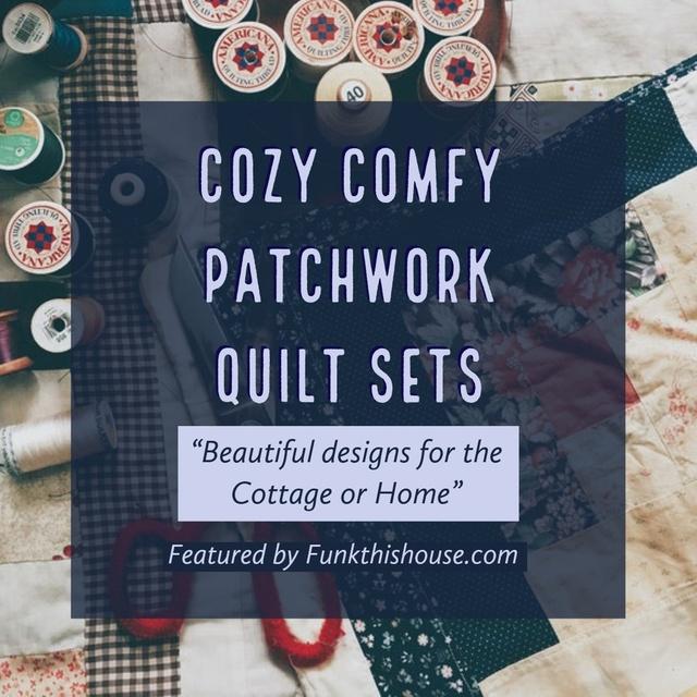 ork quilt sets that range in size, style and color.  #ShopStyle #patchwork #quiltsets #quilts #bedding #funkthishouse #afflnk