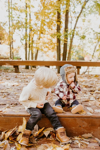 These boys are fans of fall, and each other. #Brothers #Lifestyle #ShopStyle #toddler #kidsshopstyle #family