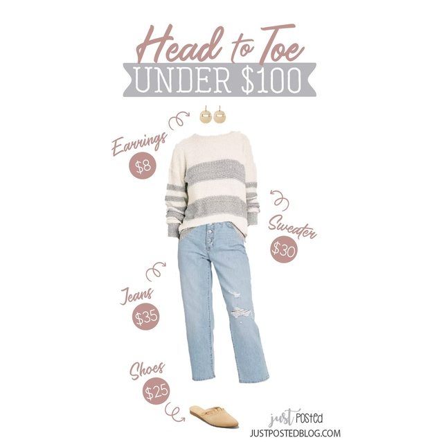 in 3 colors and looks so cozy! Add these slightly distressed jeans, $8 earrings and these ruffle mules to complete the look!