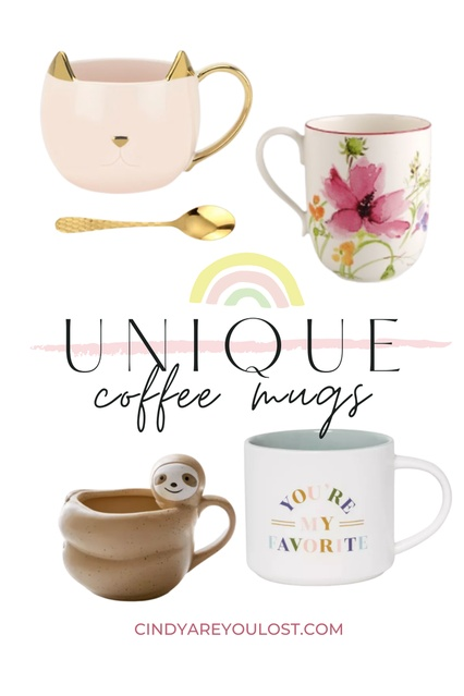 Fun and unique coffee mugs to elevate your home cafe experience. Pinkies up!  #coffeemug #home #colorful