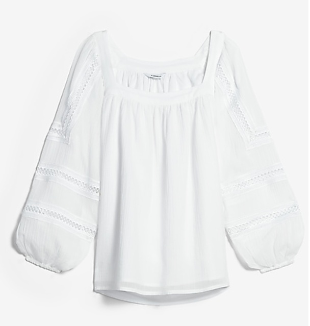 Square Neck Embroidered Sleeve Top