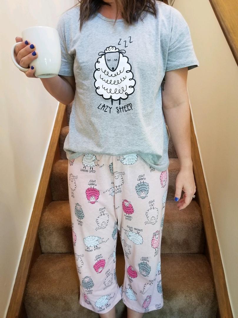 Look by coffeeandhugs featuring Women's Pajama Sets Sleepwear Capri Pants with Short Tops Sleepwear Ladies Sleep Sets