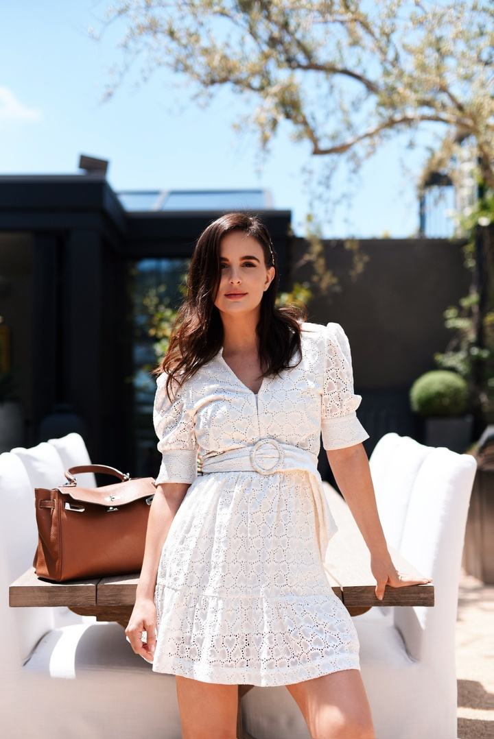 This white dress is one of my favorite dresses I have ever worn. It can be dressed down for day worn with flats, or dressed up for night worn with classic sandals. #ShopStyle #MyShopStyle #ContributingEditor #WhiteDress #Summer