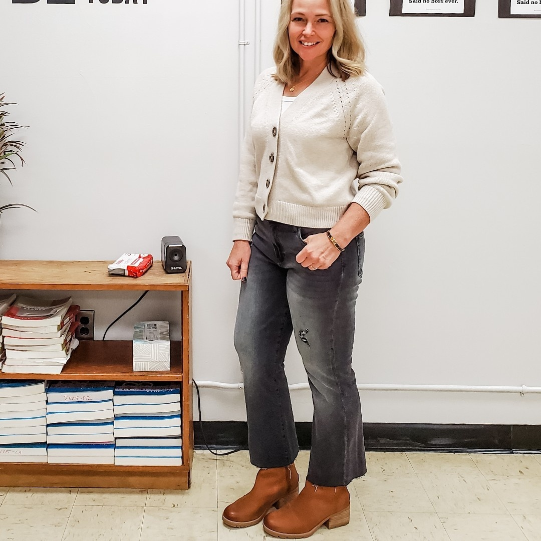 Look by everydayteacherstyle featuring Slouchy Cardigan