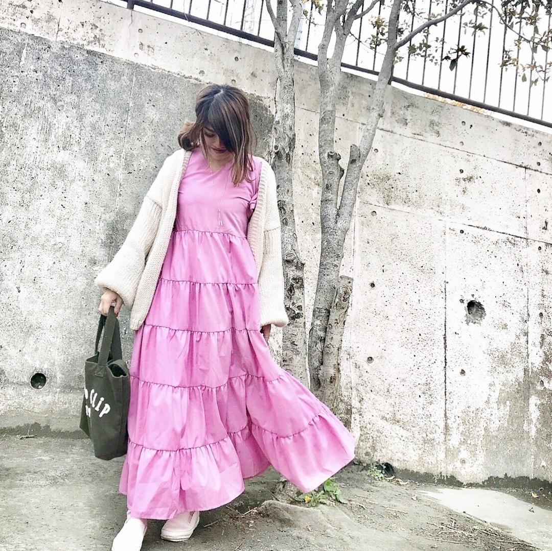 春コーデ♡ . . .  . . #プチプラコーデ#春コーデ#mineby3mootd #ponte_fashion #locari#mamagirl#ママリファッション#sscollective#sslooksjp#shopstylejp#ママ#ティアードワンピース#ティアードワンピ#ワンピースコーデ#プチプラコーデ #jeanasis#ショップスタイル#お洒落さんと繋がりたい#オシャレさんと繋がりたい