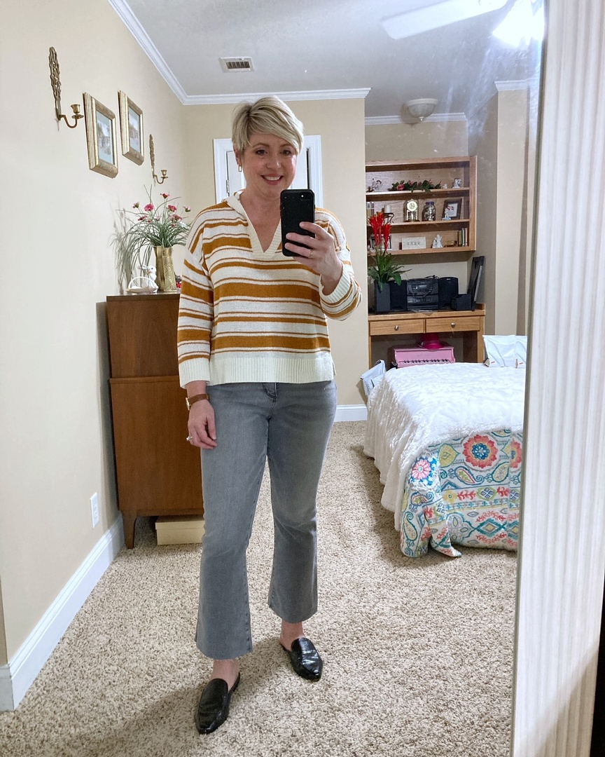 Look by Savvy Southern Chic featuring Curvy Fresh Cut High Rise Kick Crop Jeans in Light Vapor Grey
