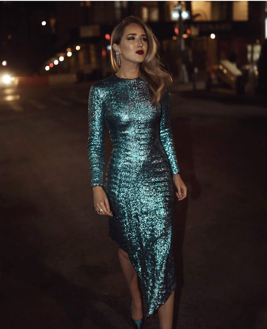 Look by maryorton featuring Dress the Population Emilia Sequin Long Sleeve Cocktail Dress