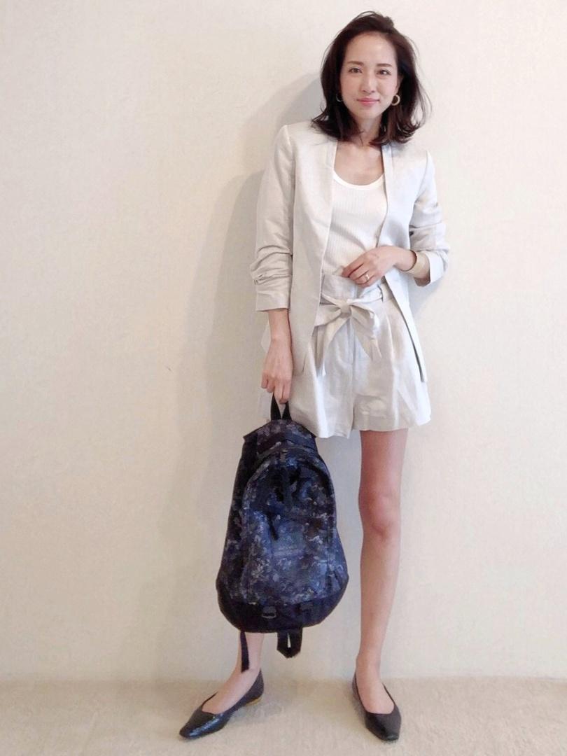#outfit #setup #suits #jucket #shorts  #リネン #リネンジャケット #ショートパンツ #大人カジュアル #リュック #バックパック