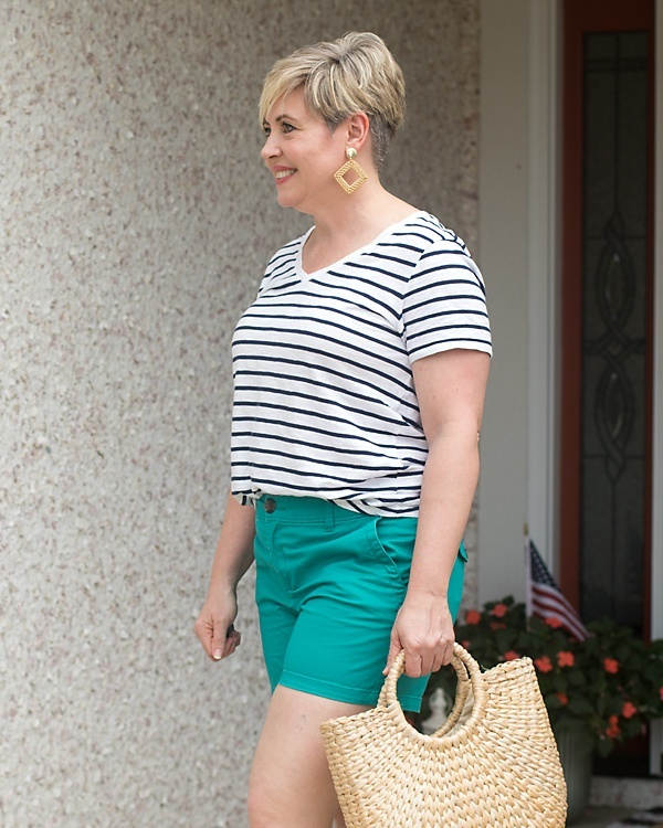 Look by Savvy Southern Chic featuring EveryWear Striped Slub-Knit V-Neck T-Shirt for Women