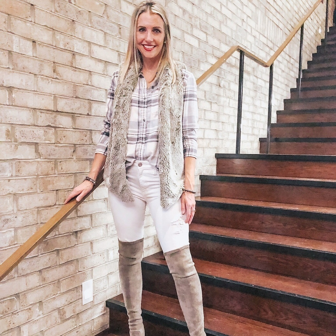 Look by Marla Gustafson featuring Goodnight Macaroon 'Carina' Taupe Over The Knee Suede Leather Boots