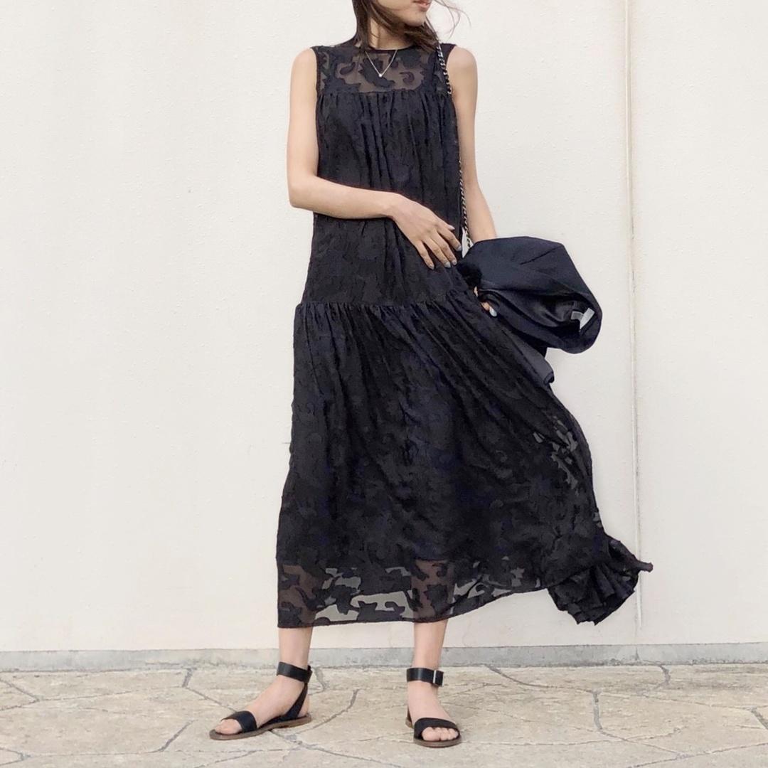 #outfit #dress #blackdress #dressedup #ドレス #ドレスアップ #サマードレス #シースルー #レース #エレガント