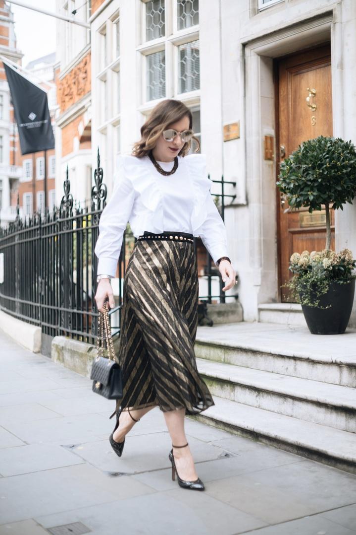 s #goldenblack #goldenskirt #longpleatedskirt #studdedheels #lookoftheday #ootd #ssCollective #ShopStyleFestival #summerstyle