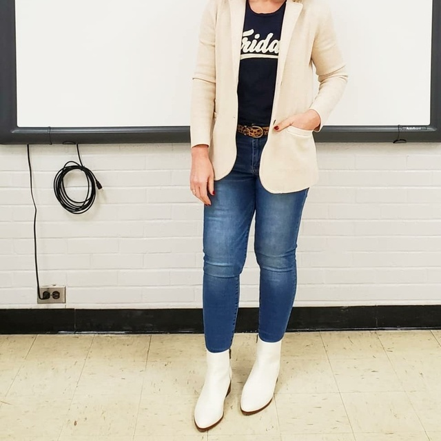 featuring a knit blazer, jeans, graphic tee, and white boots #ShopStyle #MyShopStyle #blazer #whiteboots #graphictee #teacher