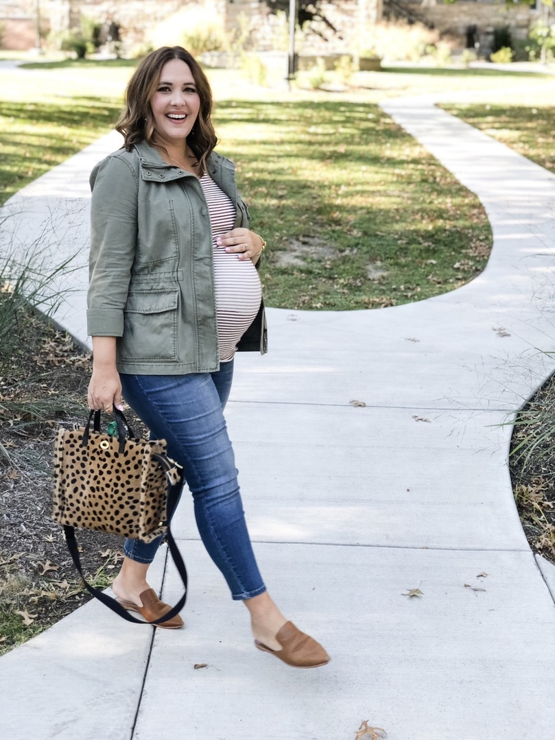 Look by Rebecca Wattenschaidt featuring Isabel Maternity by Ingrid & Isabel Maternity Striped Elbow Sleeve Rib T-Shirt - Isabel Maternity by Ingrid & Isabel Fiery Brown/Cream