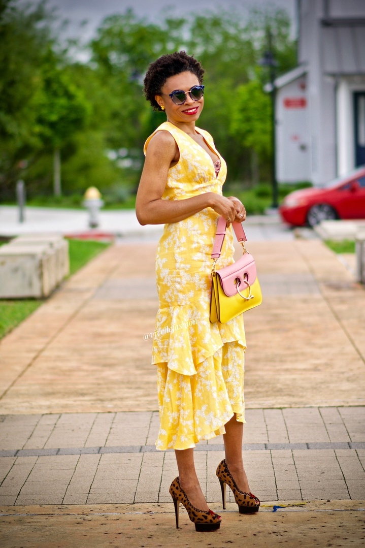 Get this dress for Mother's Day and beyond! Currently on sale!!! #ShopStyle #MyShopStyle #ContributingEditor #vivellefashion #mothersdayinspo #yellowdress #animalprint #redlipstick #clarinssos