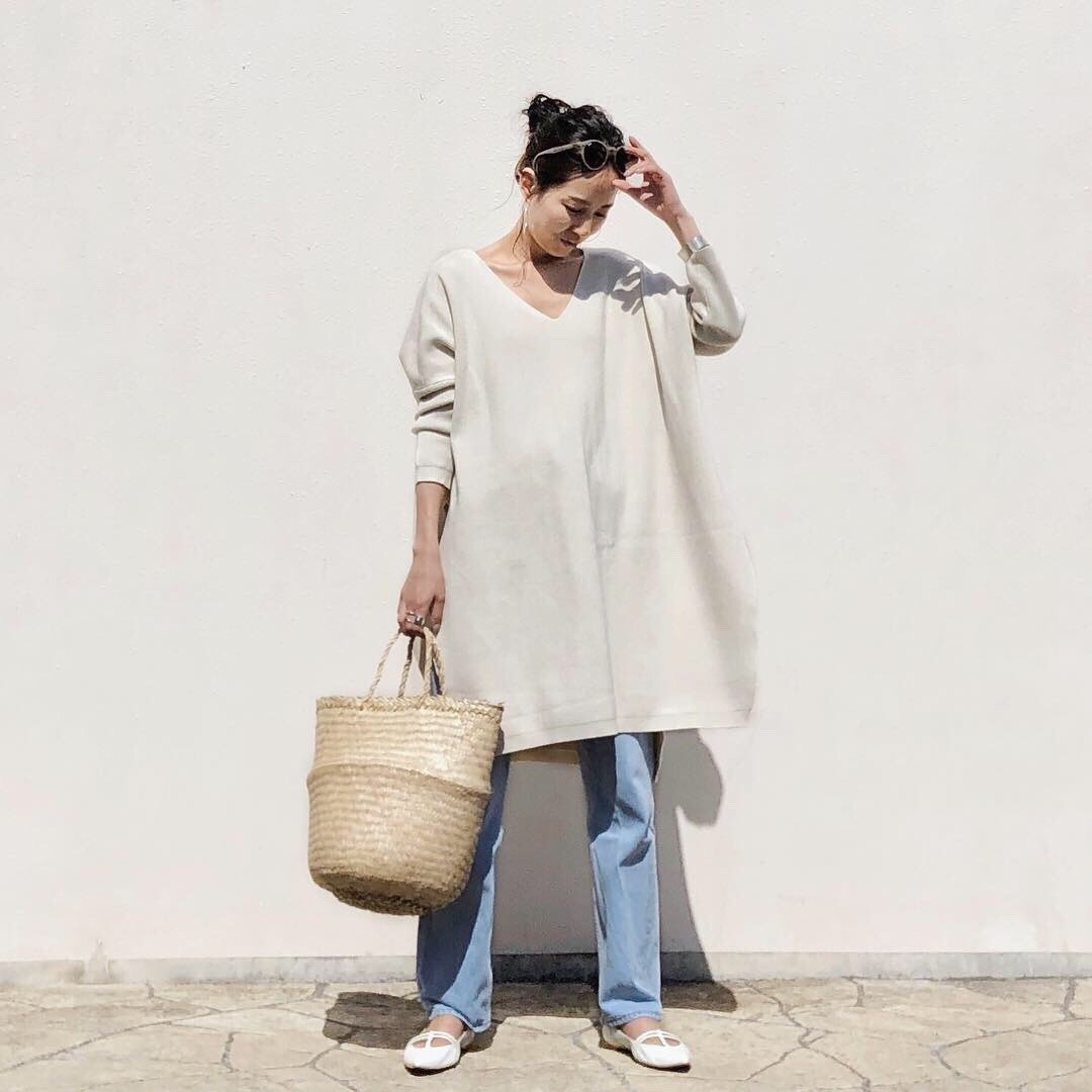 #outfit #denimlook #flatshoes #かごバッグ #大人コーデ #大人カジュアル #アラフォーコーデ