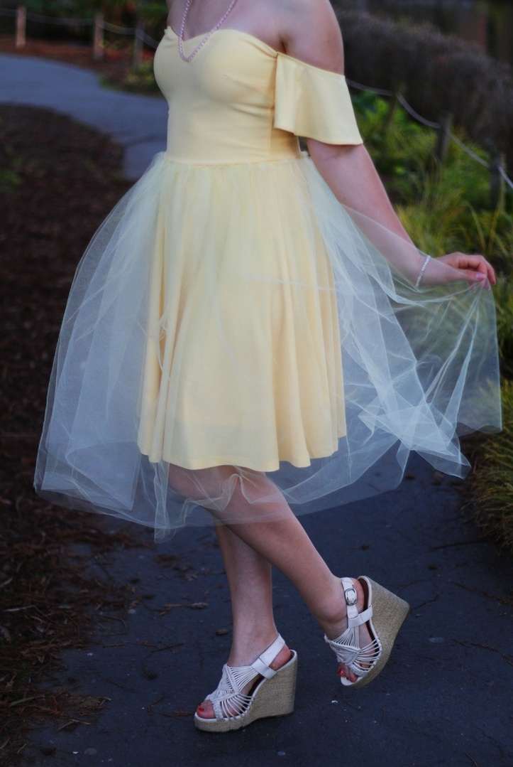Yellow off the shoulder dress