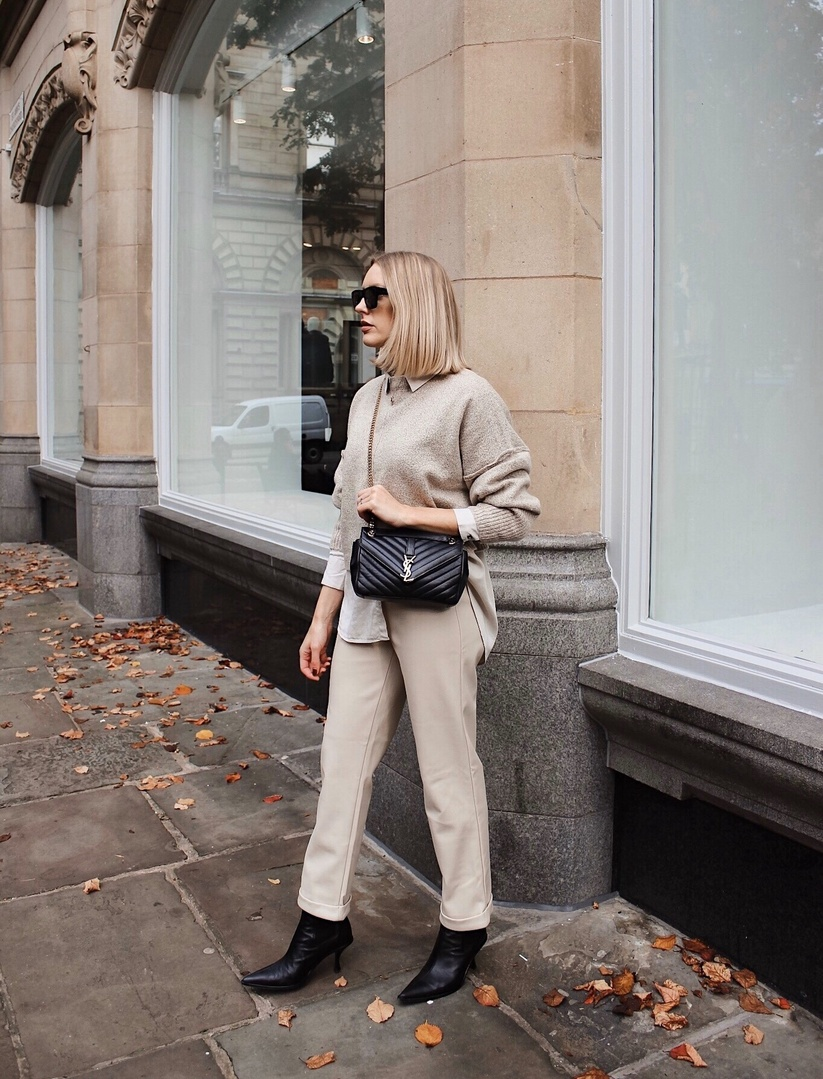 50 shades of beige 🍂🐫🥖🥨🍂 #missguided #beige #beigeoutfit #autumn #leathertrousers