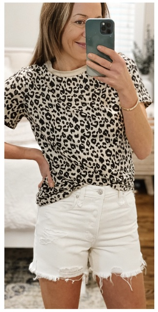 I love an easy summer uniform. Fun Tee + Cut off Shorts  #MyShopStyle #ShopStyle