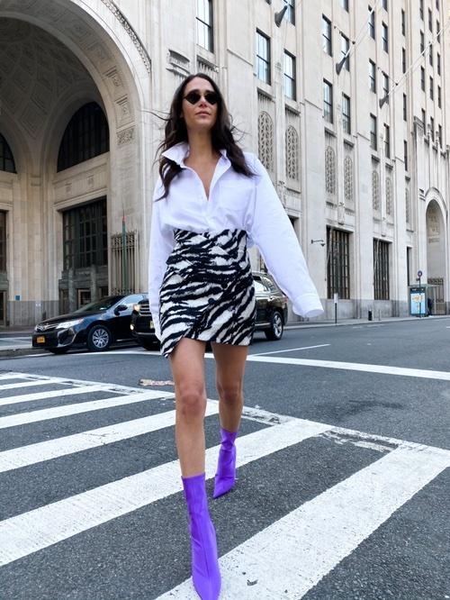 Look by Lindsi Lane featuring Redemption - Asymmetric Metallic Cotton-blend Jacquard Mini Skirt - Zebra print
