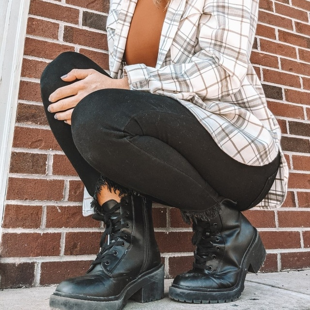 Cute weekend look with combat boots and shacket