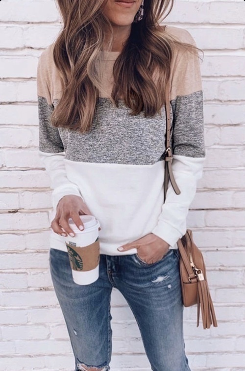 Look by emilyeadrian featuring Women's Long Sleeve Color Block Cute Shirt Round Neck Casual Tops