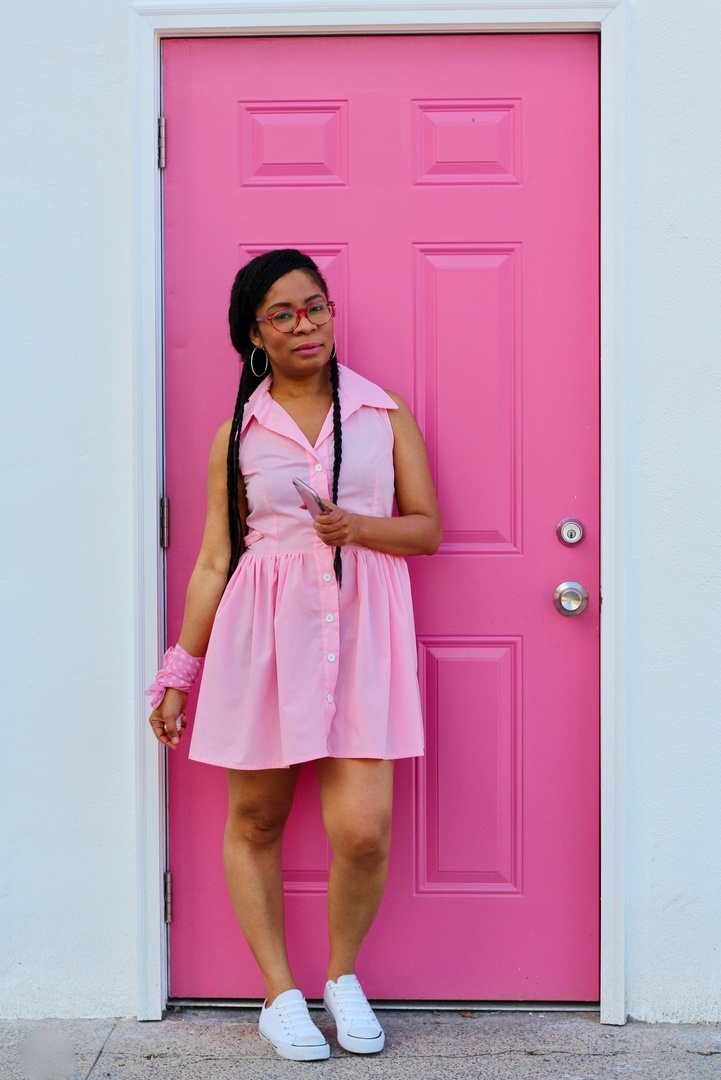 Look, I made my dress, but if you (a) like my dress and (b) you don't sew and (c) want to browse and shop similar dresses to mine, then this post is for YOU!  #ShopStyle #Petite #summerstyle #shirtdress #pink #dress #summer #travel