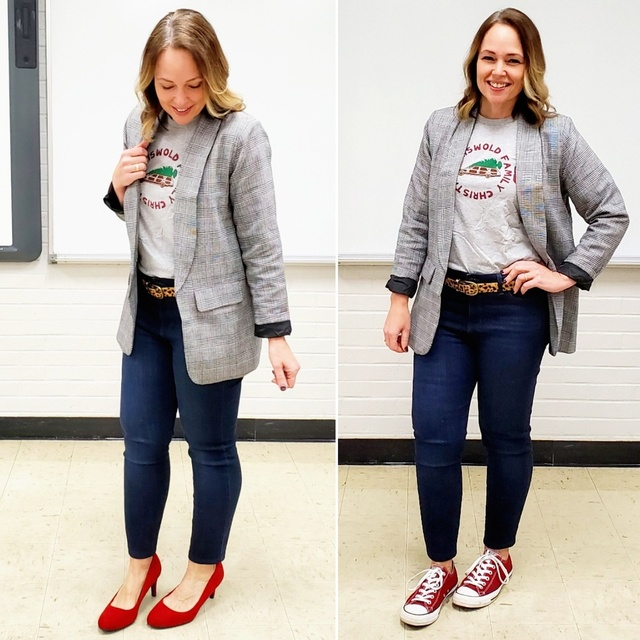 nny jeans, and red pumps or sneakers #ShopStyle #MyShopStyle #Winter #Holiday #blazer #jeans #sneakers #pumps #red #christmas