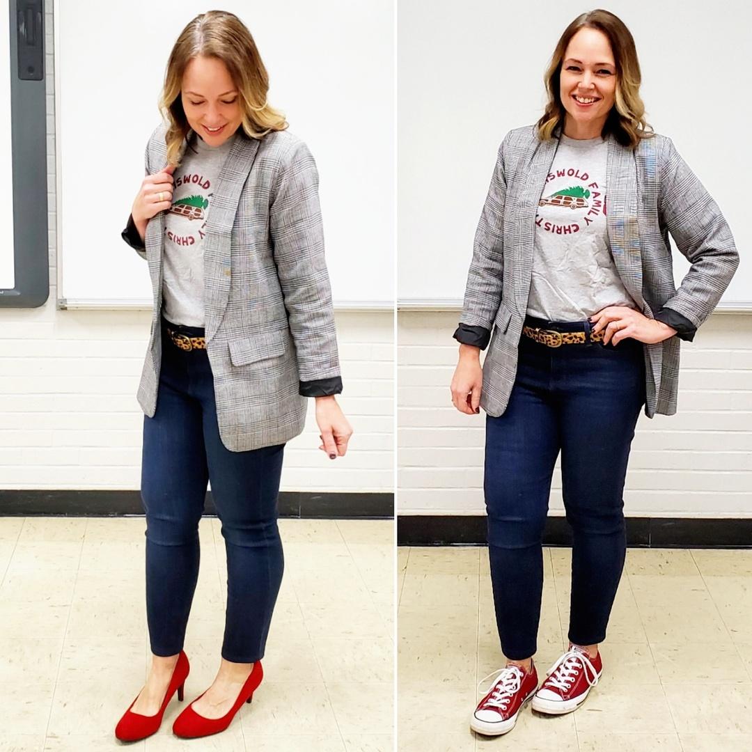 Look by everydayteacherstyle featuring Francesca's Nabina Reversible Leopard Belt - Leopard