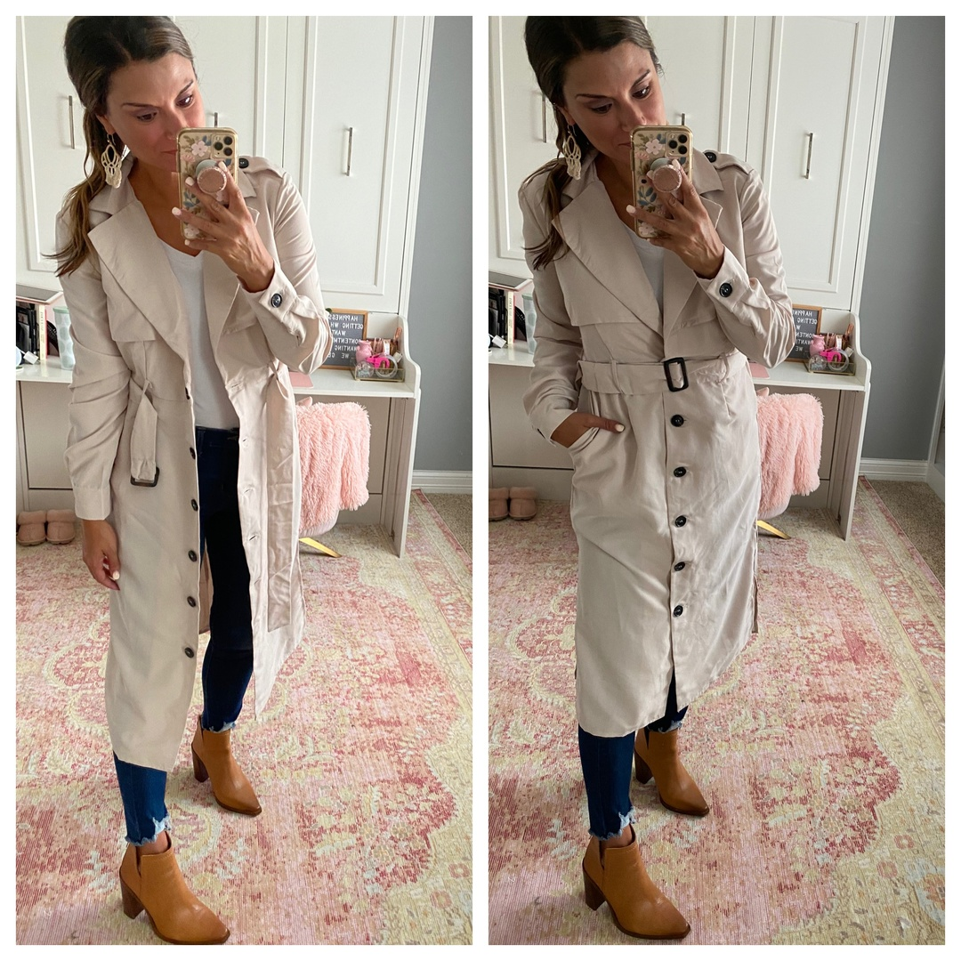 Look by Just Posted featuring Belted Trench Duster Jacket
