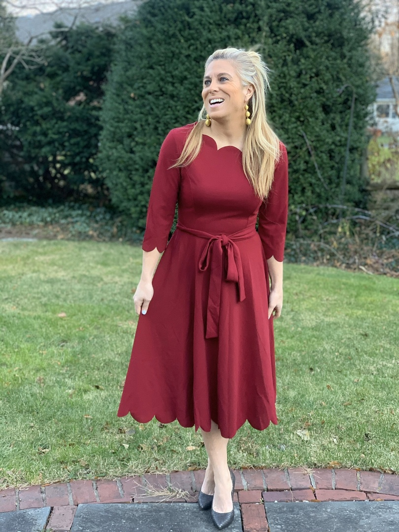 Look by Audrey McClelland featuring Milumia Women's 3/4 Sleeve Belted Knee Length Fit & Flare Scallop Party Dress