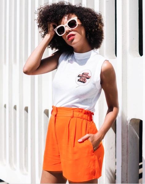 g #lookoftheday #summerstyle #mylook #ootd #bold #bright #orange #muscletee #hm #monogram #sunnies #chic #casual #fun #summer