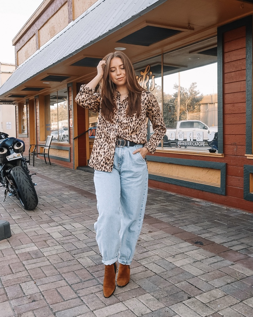 t I'm rocking our leopard print satin top! Can't go wrong with a little bit of animal print for fall! #ShopStyle #MyShopStyle