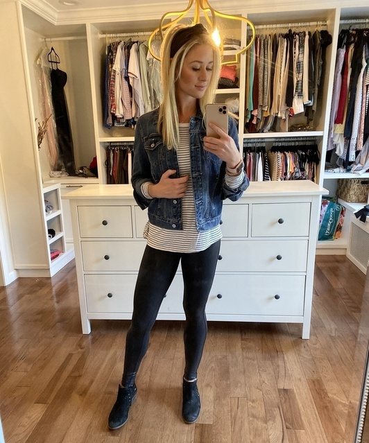 live-in leggings, just amped up in style. My headband is on sale too! Linked similar striped shirt, jean jacket, and booties.
