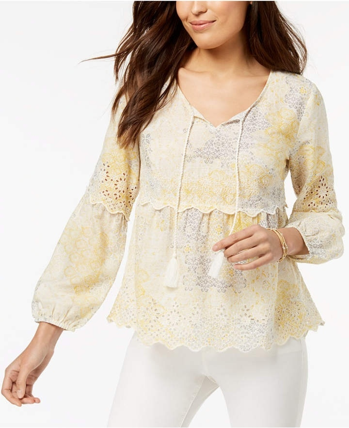 Look by BlueBellaDonna featuring Style & Co Petite Printed Eyelet-Trim Peasant Top, Created for Macy's