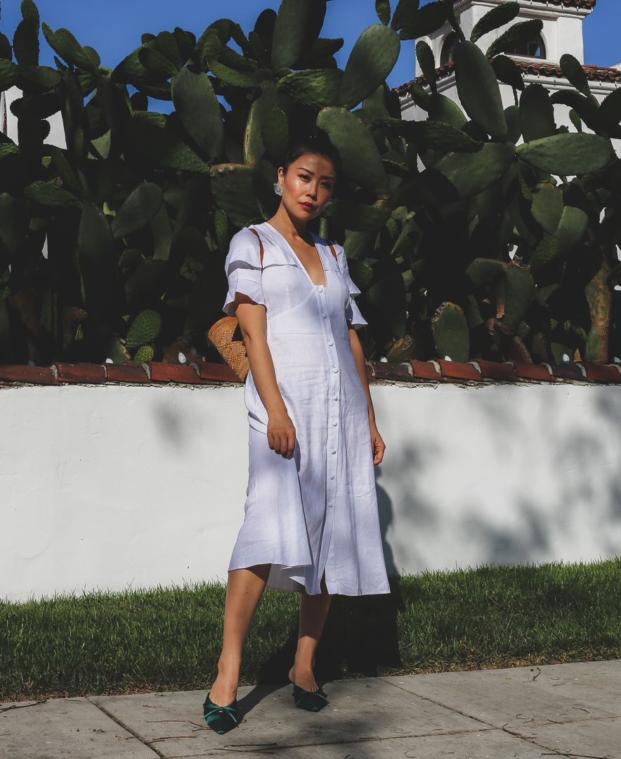 the summer heat in my white ASOS midi dress! #ShopStyle #shopthelook #summerstyle #WeddingGuestLooks #MyShopStyle #mididress