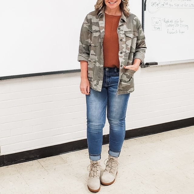 teacher #rust #chunkyknit #sweater #wedgeboots #fall #jeans  #ShopStyle #MyShopStyle #Winter #Petite #TrendToWatch #Lifestyle