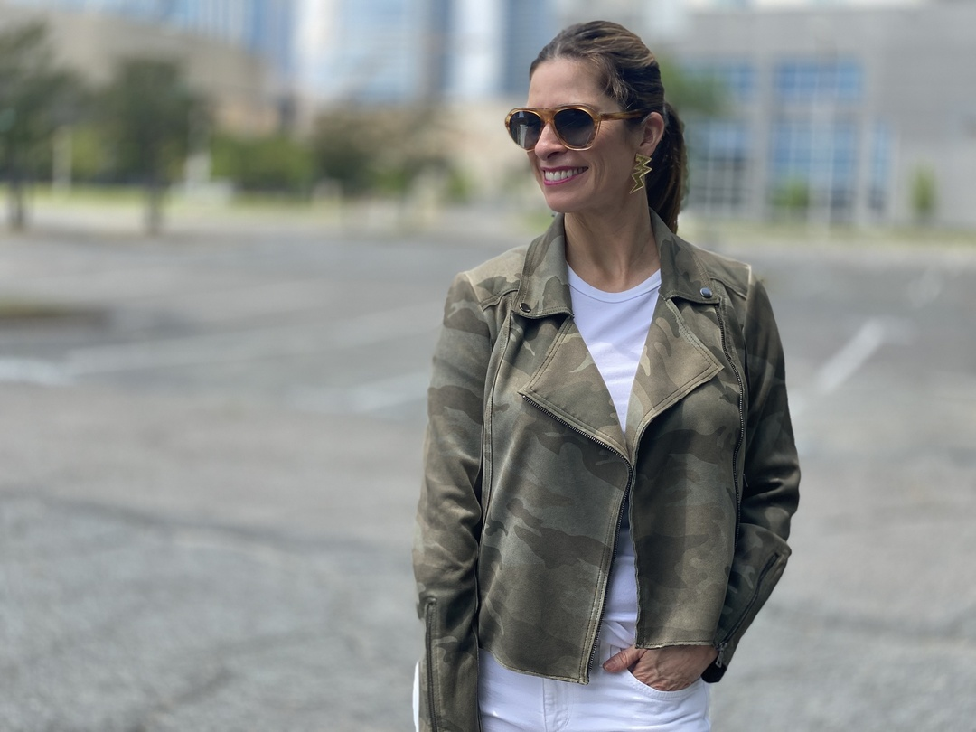 Look by Holly Schoolmeester featuring Marrakech Camo Sueded Moto Jacket By Marrakech in Assorted Size XS