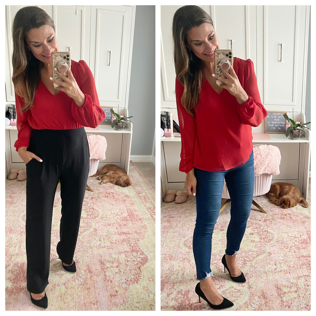 Look by Just Posted featuring Gathered Shoulder Blouson Sleeve V-Neck Blouse