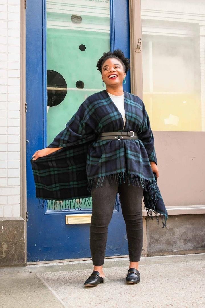 Look by themomedit featuring Amazon Brand - Goodthreads Women's Fringe Ruana Wrap