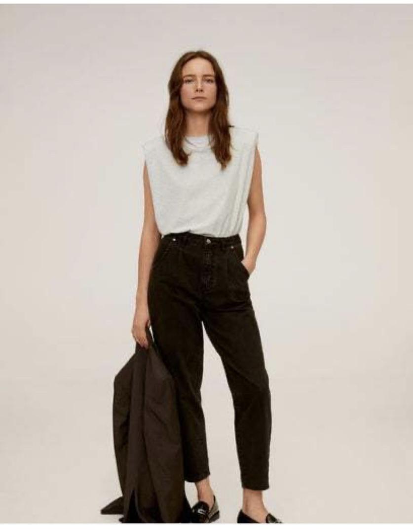 Look by Jennifer sattler featuring MANGO - Shoulder pad cotton t-shirt grey - M-L - Women