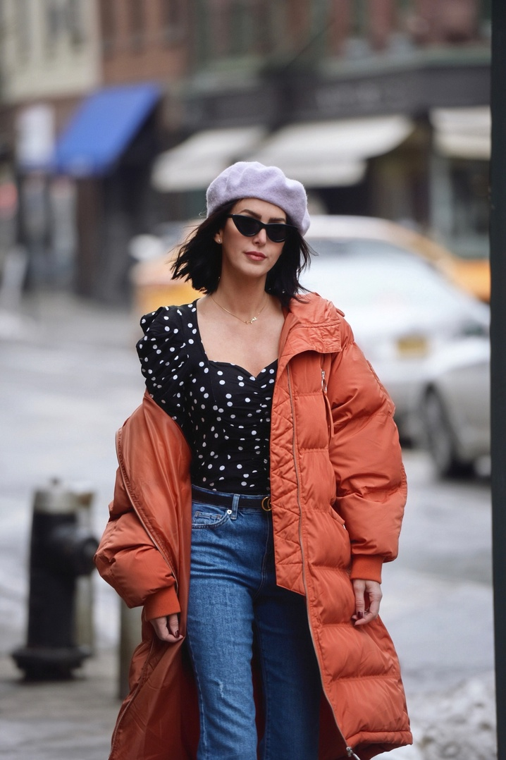 Mixing winter and spring trends with a puffer and polka dots    #puffer #puffercoat #beret #polkadots #winterlayering #winterstyle #winterfashion #winter #streetstyle #nyc #lavender #purple #ShopStyle #ssCollective #MyShopStyle #ootd #mylook #lookoftheday #currentlywearing #todaysdetails #getthelook #wearitloveit #shopthelook