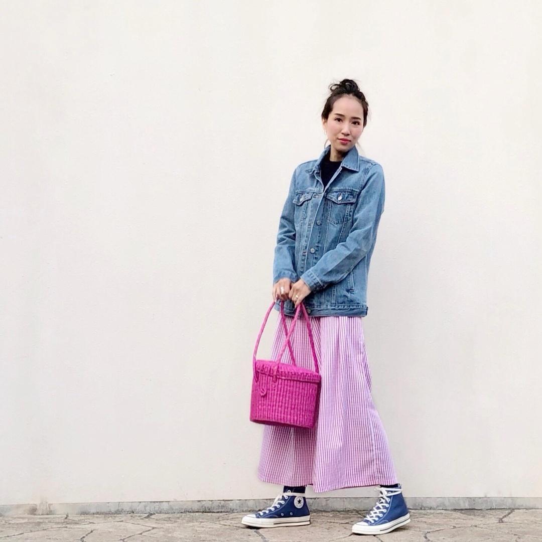 #outfit #gingham #ginghamcheck #longskirt #denimjucket #Gジャン #デニムジャケット #ギンガムチェック #ct70