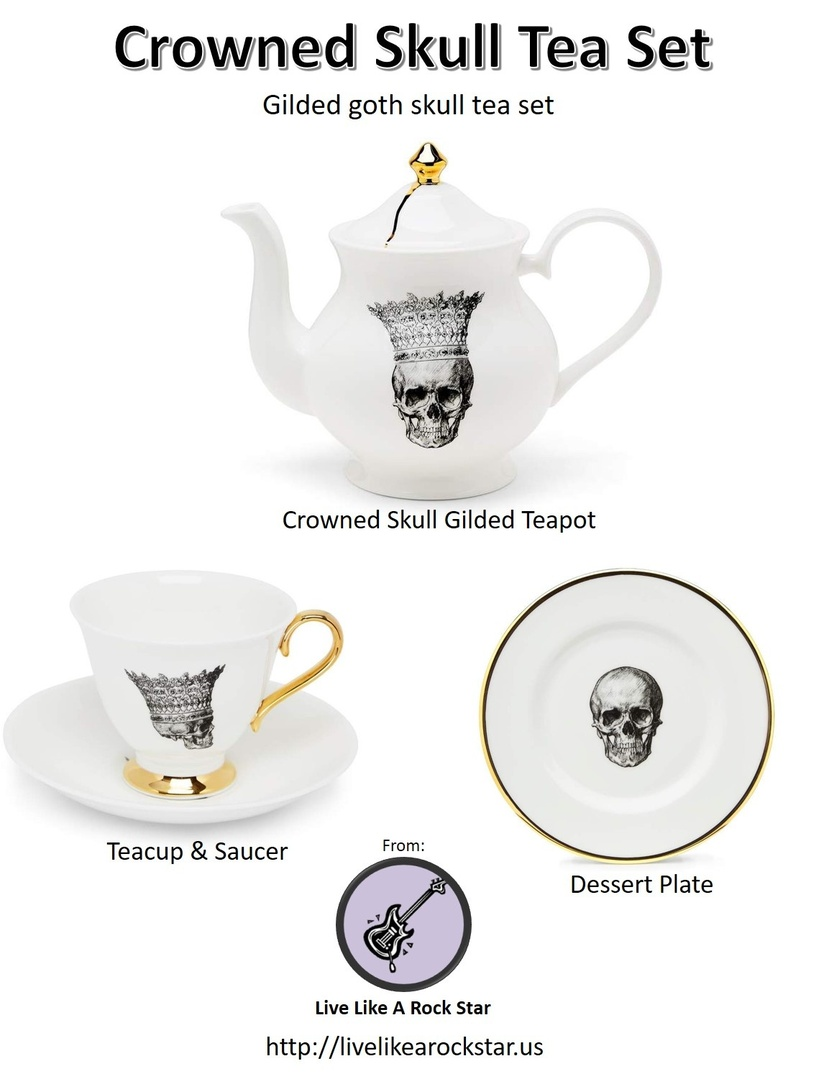 Look by LiveLikeARockStar featuring Melody Rose London Skull In Crown Teacup & Saucer