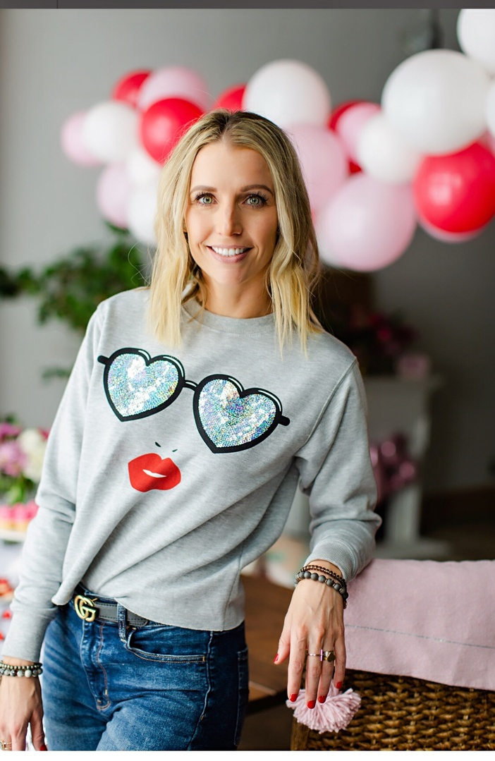 Look by Marla Gustafson featuring Oasis crew neck sweater with embroidered hearts in stripe