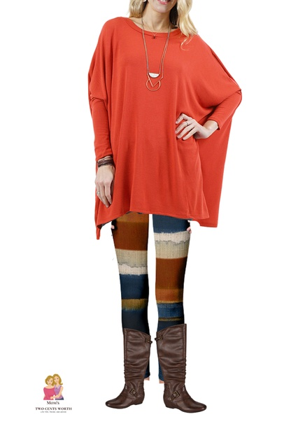 le #myshopstyle #fallfashion #autumn #momstyle #orangetunic #boatneck #tunic #colorblock #leggings #widecalfboots #brownboots